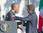 United States President Barack Obama shakes hands with Prime Minister Matteo Renzi of Italy during the Official Arrival Ceremony on the South Lawn of the the White House in Washington, DC on Tuesday, October 18, 2016. <br /> Credit: Ron Sachs / CNP