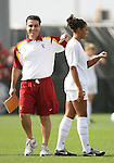 09 December 2007: USC head coach Ali Khosroshahin (l) and Lauren Brown (r). The University of Southern California Trojans defeated the Florida State University Seminoles 2-0 at the Aggie Soccer Stadium in College Station, Texas in the NCAA Division I Womens College Cup championship game.