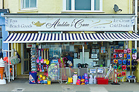 Aladdin's Cave general store selling seaside products and souvenirs in Aberdyfi, Aberdovey, Snowdonia, Wales