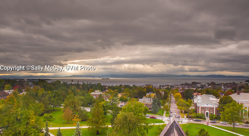The UVM Campus, Burlington, Vermont and Lake Champlain, Fall UVM Campus