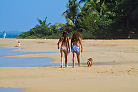 "Children Walking Dog on Leash, 'Balneario Luquillo' Puerto Rico caribbean beach, Puerto Rico ""Estado Libre Asociado de Puerto Rico"", Caribbean, Island, Greater Antilles,"