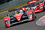 The Audi R10 TDI #14 LMP1, Narain Karthikeyan-Andy Meyrick-Ch. Zwolsman, Team Kolles, during the Qualifying Practice, here in front of the Lola Aston Martin #13 LMP1, Andrea Belicchi-Marcel Fassler-Nicolas Prost, Speedy Racing Team Sebah, Saturday, May 9, 2009, in Spa-Francorchamps, Belgium. The Audi R10 TDI #14 will take the third row at the ninth place of the starting grid. (Valentin Bianchi/pressphotointl.com