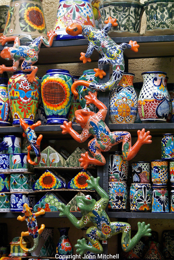 Ceramics for sale in the market in San Miguel de Allende, Mexico