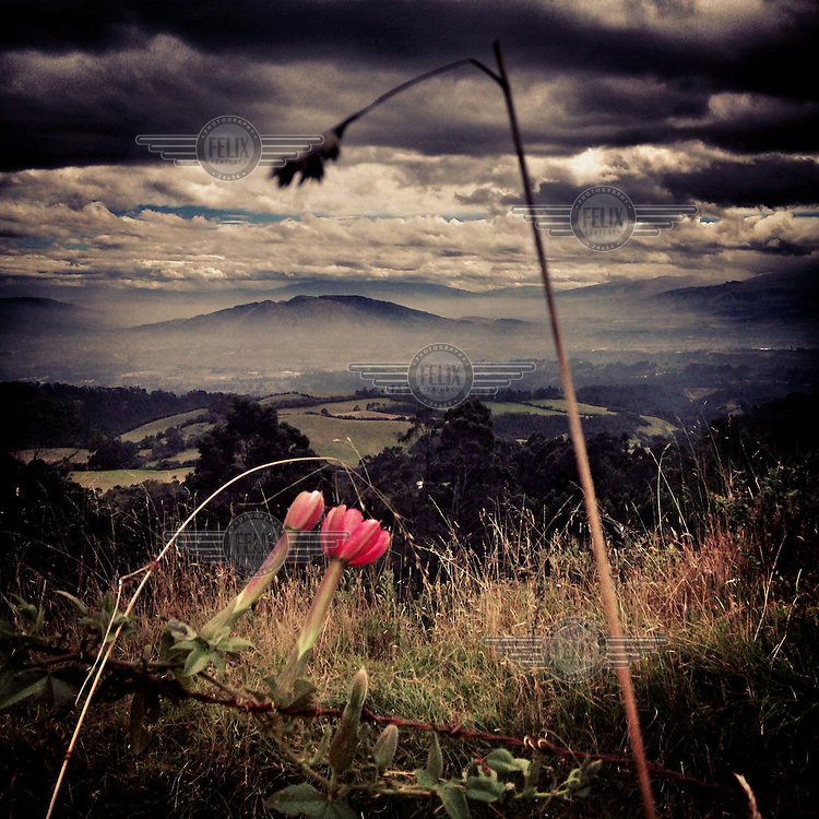 Ilalo, an extinct volcano, seen from another extinct volcano, Pasochoa. Ilalo is known as the belly button of Quito.