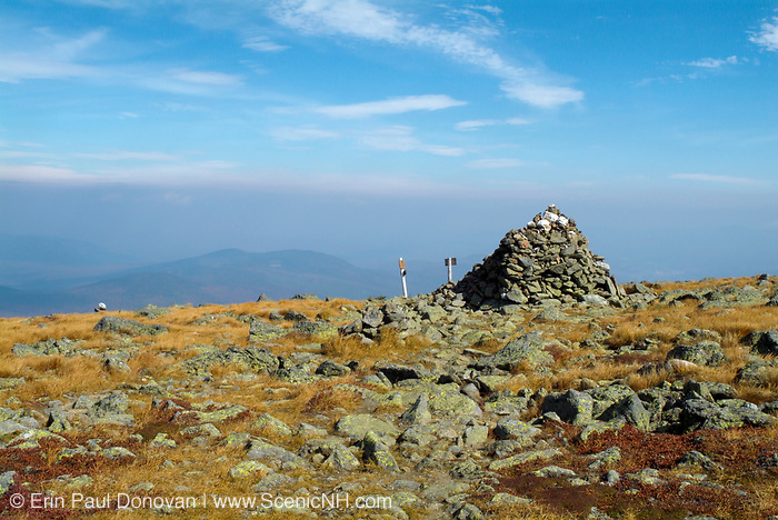 Appalachian Trail...Hiking on the Gulfside Trail approaching Thunderstorm Junction in the Northern Presidential Range. Located in the White Mountains, New Hampshire USA. Haze fills the sky in the background