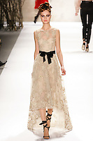 Hanna Samokhina walks runway in a Monique Lhuillier Fall 2011 outfit, during Mercedes-Benz Fashion Week Fall 2011.