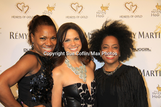 "Deborah Koenigsberger and CNN's Soledad O'Brien (co-mistress of ceremonies) and Another World's Rhonda Ross at Hearts of Gold's 16th Annual Fall Fundraising Gala & Fashion Show ""Come to the Cabaret"", a benefit gala for Hearts of Gold on November 16, 2012 at the Metropolitan Pavilion, New York City, New York.   (Photo by Sue Coflin/Max Photos)"