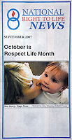 Sep 01, 2007 - Los Angeles, California, USA - The National Right To Life Organization chose my model released photo of a woman and her baby for the September cover promoting 'Respect Life Month'..(Credit Image: © Marianna Day Massey/ZUMA Press)