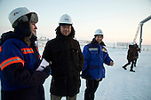 Visitors, press and personnel at Achimgaz in Novy Urengoi, Arctic Siberia, Russia. Achimgaz is a joint-venture between Germany's BASF Wintershall and Russia's Gazprom. Photo by Justin Jin.