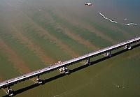 aerial photography tidal flow, sediment, Richmond Bridge, Contra Costa county California