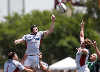 31 May 2009: Hayden Smith of USA tries to catch a loose ball in the air during the Rugby game against Ireland at Buck Shaw Stadium in Santa Clara, California.   Ireland defeated USA, 27-10.