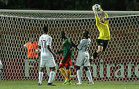 The United States' Brian Perk (13) saves a goal against Cameroon during the FIFA Under 20 World Cup Group C Match between the United States and Cameroon at the Mubarak Stadium on September 29, 2009 in Suez, Egypt.