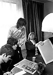 Rolling Stones 1968 Bill Wyman, Mick Jagger and Brian Jones with journalist Gordon Coxhill at their publicists office.