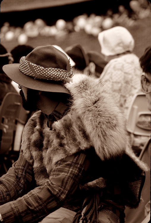 Coureur de bois, fur trapper, in traditional costume at opening celebration of St. Albert Place, Alberta