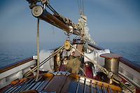 Into the Fog Bow Aboard SV Maple Leaf, Gulf Islands, British Columbia, Canada