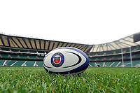 """A general view of a Bath Rugby branded rugby ball at Twickenham Stadium. Bath Rugby Photocall for """"The Clash"""" on March 16, 2017 at Twickenham Stadium in London, England. Photo by: Patrick Khachfe / Onside Images"""