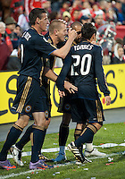 15 April 2010: Philadelphia Union defender Jordan Harvey #2 celebrates his goal in the first half during a game between the Philadelphia Union and Toronto FC at BMO Field in Toronto..Toronto FC won 2-1..Photo by Nick Turchiaro/isiphotos.com........12 September 2009:Toronto FC forward Chad Barrett # 19 takes the ball up field during MLS action at BMO Field Toronto in a game between Colorado Rapids and Toronto FC. .Photo by Nick Turchiaro/isiphotos.comApril 12 2010: Chicago White Sox second baseman Gordon Beckham #15 and Chicago White Sox shortstop Omar Vizquel #11celebrate the win during the Toronto Blue Jays home opener between the Chicago White Sox and the Toronto Blue Jays at Rogers Centre in Toronto, Ontario..The White Sox won 8-7 in 11 innings.........11 April 2009:Toronto FC forward Chad Barrett # 19 takes the ball up field during MLS action at BMO Field Toronto, in a game between FC Dallas and Toronto FC. .Toronto FC won 2-1.