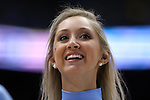 02 February 2015: UNC cheerleader. The University of North Carolina Tar Heels played the University of Virginia Cavaliers in an NCAA Division I Men's basketball game at the Dean E. Smith Center in Chapel Hill, North Carolina. Virginia won the game 75-64.