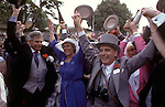 Royal Ascot horse racing. Singing around the bandstand at the end of the days racing.  The English Season published by Pavilon Books 1987