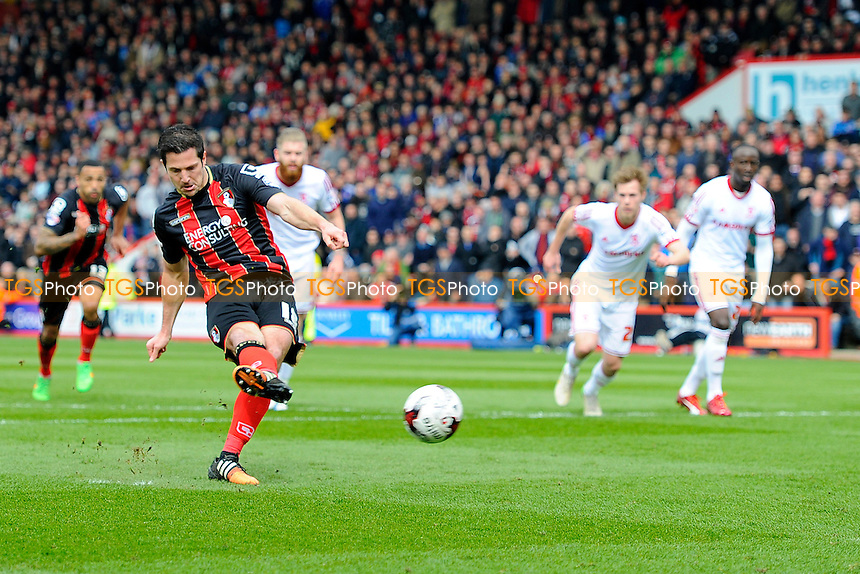 Yann Kermorgant of AFC Bournemouth scores from the penalty spot - AFC Bournemouth vs Middlesbrough - Sky Bet Championship Football at the Goldsands Stadium, Bournemouth, Dorset - 21/03/15 - MANDATORY CREDIT: Denis Murphy/TGSPHOTO - Self billing applies where appropriate - contact@tgsphoto.co.uk - NO UNPAID USE