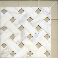 Fraser, a stone waterjet mosaic, shown in Calacatta Venetian honed and Raw Fiber glass flowers with honed Raw Fiber glass bricks, is part of the Altimetry Collection for New Ravenna.<br />
