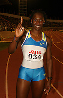 Kerron Stewart showing her victory smile after winning the 100m in a time of 10.96 at the Jamaica International Invitational Meet on Saturday May 3rd. 2008. Photo by Errol Anderson, The Sporting Image.