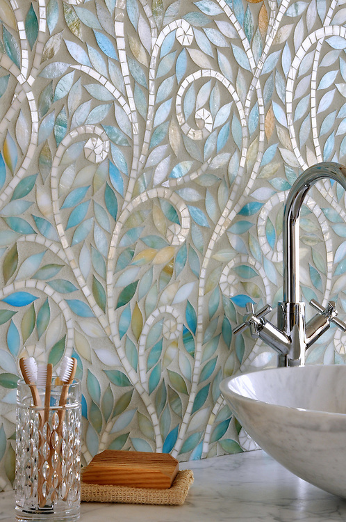 Climbing Vine, a handmade mosaic, is shown Aquamarine and Quartz jewel glass.<br />