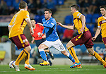 St Johnstone v Motherwell....31.10.14   SPFL<br /> Michael O'Halloran gets between Steven Hammell and Stephen McManus<br /> Picture by Graeme Hart.<br /> Copyright Perthshire Picture Agency<br /> Tel: 01738 623350  Mobile: 07990 594431