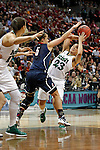 01 APRIL 2012:  Kayla McBride (23) of the University of Notre Dame drives to the hoop against Caroline Doty (5) of the University of Connecticut during the Division I Women's Final Four Semifinals at the Pepsi Center in Denver, CO.  Notre Dame defeated UCONN 83-75 to advance to the national championship game.  Jamie Schwaberow/NCAA Photos