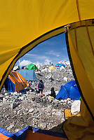 The view from my tent at Everest base camp. Everest base camp  in Nepal is at an altitude of 5,360 metres (17,590 ft). Climbers will spend a couple of weeks in Base Camp, acclimatizing to the altitude. During that time, Sherpas and expedition climbers will set up high camps by making several trips though the treacherous Khumbu Icefall.
