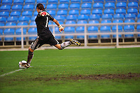 German goalkeeper Nadine Angerer strikes a goal kick. The USA captured the 2010 Algarve Cup title by defeating Germany 3-2, at Estadio Algarve on March 3, 2010.