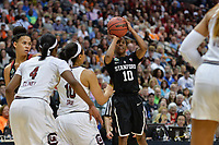 Dallas, TX - Friday March 31, 2017: Briana Roberson during the NCAA National Semifinal Game between the women's basketball teams of Stanford and South Carolina at the American Airlines Center.