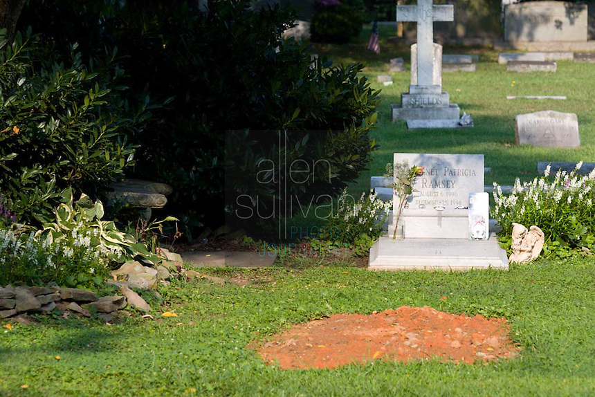 The grave site of JonBenet Ramsey and her mother, Patricia Ramsey (newer grave) in St. James Episcopal Cemetery. The six-year-old girl was found murdered in 1996.