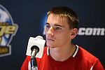 09 December 2012: Indiana's Nikita Kotlov during the postgame press conference. The Georgetown University Hoyas played the Indiana University Hoosiers at Regions Park Stadium in Hoover, Alabama in the 2012 NCAA Division I Men's Soccer College Cup Final. Indiana won the game 1-0.