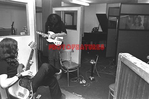 Black Sabbath 1970 Geezer Butler Tony Iommi Ozzy Osbourne at Regents Sounds during Paranoid sessions<br /> &copy; Chris Walter