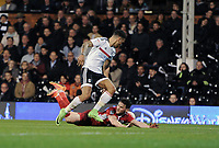 Blackburn Rovers' Craig Conway is tackled by Fulham's Ryan Fredericks - penalty appeal turned down<br /> <br /> Photographer /Ashley WesternCameraSport<br /> <br /> The EFL Sky Bet Championship - Fulham v Blackburn Rovers - Tuesday 14th March 2017 - Craven Cottage - London<br /> <br /> World Copyright &copy; 2017 CameraSport. All rights reserved. 43 Linden Ave. Countesthorpe. Leicester. England. LE8 5PG - Tel: +44 (0) 116 277 4147 - admin@camerasport.com - www.camerasport.com