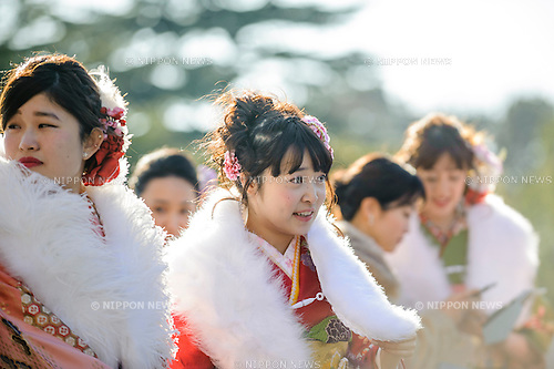 JANUARY 9, 2017 - 20-year-olds attend a Coming of Age Day ceremony at Nagoya Civic Assembly Hall in Nagoya, Japan. The national holiday celebrates young adults reaching the age of majority. (Photo by Ben Weller/AFLO) (JAPAN) [UHU]