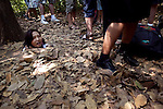 Tourists visit the Cu Chi Tunnels in Cu Chi, Vietnam.