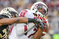 Annapolis, MD - December 27, 2016: Temple Owls wide receiver Adonis Jennings (17) catches a touchdown during game between Temple and Wake Forest at  Navy-Marine Corps Memorial Stadium in Annapolis, MD.   (Photo by Elliott Brown/Media Images International)