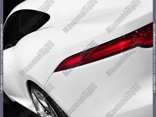White Jaguar C-X16 concept sports car tail light detail closeup