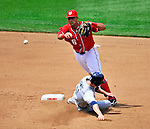 29 May 2011: Washington Nationals shortstop Ian Desmond gets a sliding Brad Hawpe out at second but is unable to turn the double play on Diego Padres Chase Headley at first in the top of the 4th inning at Nationals Park in Washington, District of Columbia. The Padres defeated the Nationals 5-4 to take the rubber match of their 3-game series. Mandatory Credit: Ed Wolfstein Photo