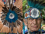 Diptych of two images:<br /> <br />  1) Close up of Fancy dancer bustle regalia.<br /> <br />  2) Richard (Duke of Sandyhook) Simmons, Seneca and Iroquois Native American, wearing beaded head band with Turtle Nation bead work in the center.<br /> <br /> Turtle Nation Bustle - GOR-88832-12<br /> Turtle Nation - GOR-88850-cE-12<br /> <br /> release # 2508