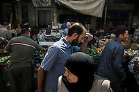The vegetable market in the centre of Damascus, Syria.
