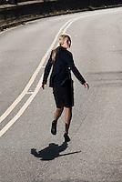 Blonde woman running