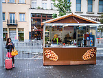 Waffle suitcase, arrived from China, beside a waffle stand in Place de la Monnaie, Brussels. (C) 2014 Dave Walsh