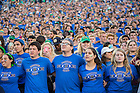 September 10, 2016; The student section sings the Alma Mater following the Nevada game at Notre Dame Stadium. (Photo by Matt Cashore)