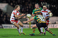 Billy Twelvetrees of Gloucester Rugby passes the ball. Aviva Premiership match, between Northampton Saints and Gloucester Rugby on November 27, 2015 at Franklin's Gardens in Northampton, England. Photo by: Patrick Khachfe / JMP