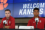 12 December 2015: Stanford's Brian Nana-Sinkam (right) and Sam Werner (left). The NCAA held a press conference at Three Points at the Sporting Kansas City offices one day before the Clemson University Tigers play the Stanford University Cardinal in a 2015 NCAA Division I Men's College Cup championship match.