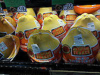 Trader Joe's house brand turkeys for sale in a Trader Joe's supermarket in New York on Sunday, November 20, 2016.  (© Richard B. Levine)