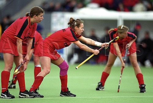31 March 2000: German player Nadine Ernsting-Krienke waits to receive the ball during the women's hockey olympic qualifier against New Zealand played at Milton Keynes Photo: Matthew Clarke/actionplus... women female 000331